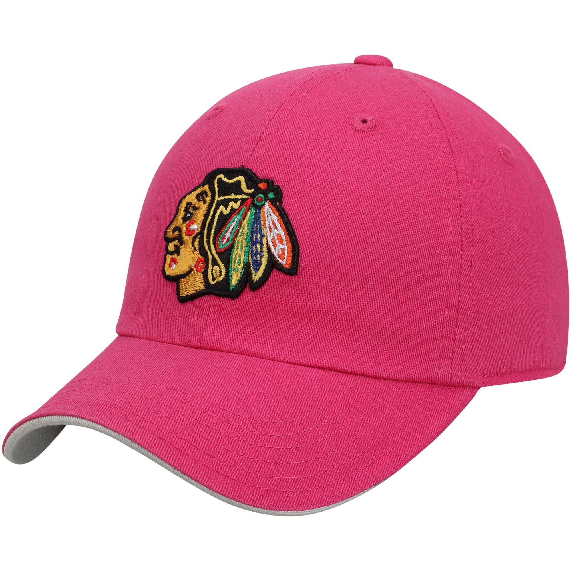 Chicago Blackhawks Girls Youth Slouch Adjustable Hat - Pink - OSFA