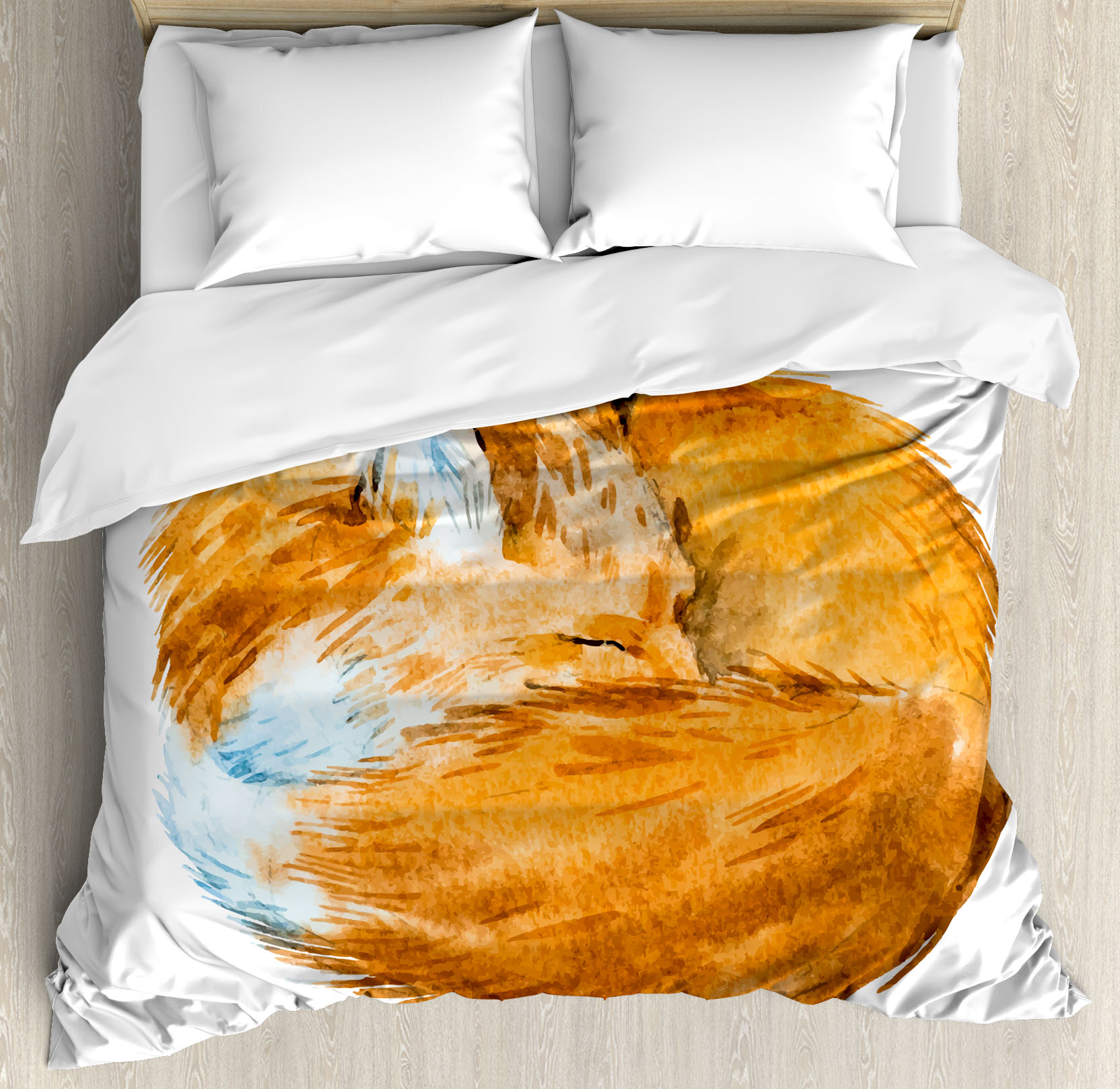 Click here to buy Animal Decor King Size Duvet Cover Set, Cute Fox Sleeping Deep Funny Creature Kids Nursery... by Kozmos.