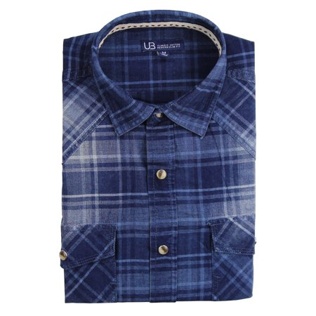Men's Long Sleeve Plaid Pearl Snap Western Shirt (Indigo, Regular Fit: X-Large)