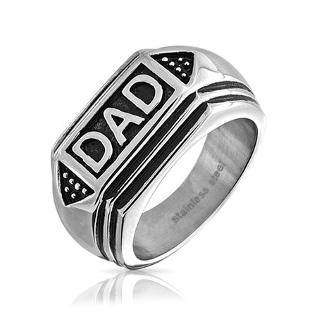 Mens Black Enamel Geometric Two Toned Dad Stainless Steel Signet Ring
