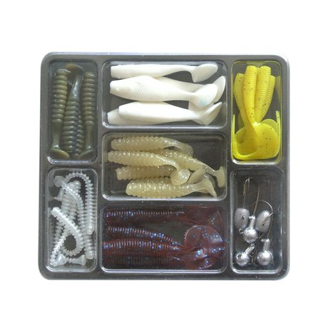 Lead Jig Molds (Holiday Time Simulation Fishing Accessory Set with Jig Lead Fishing Hooks Vivid Rubber Fishing Baits )