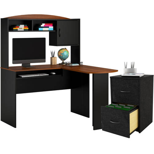 Mainstays L-Shaped Desk with Hutch and File Cabinet, Multiple Finishes