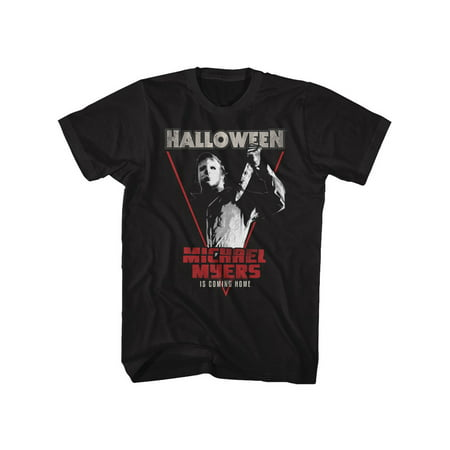 Halloween 1978 Slasher Film Michael Meyers Coming Home Black Adult T-Shirt Tee](Halloween 1978 Title)