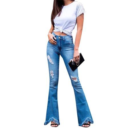 JDinms Women Destoryed Flare Jeans Button Bell Bottom Raw Hem Denim - Bell Bottom Jeans