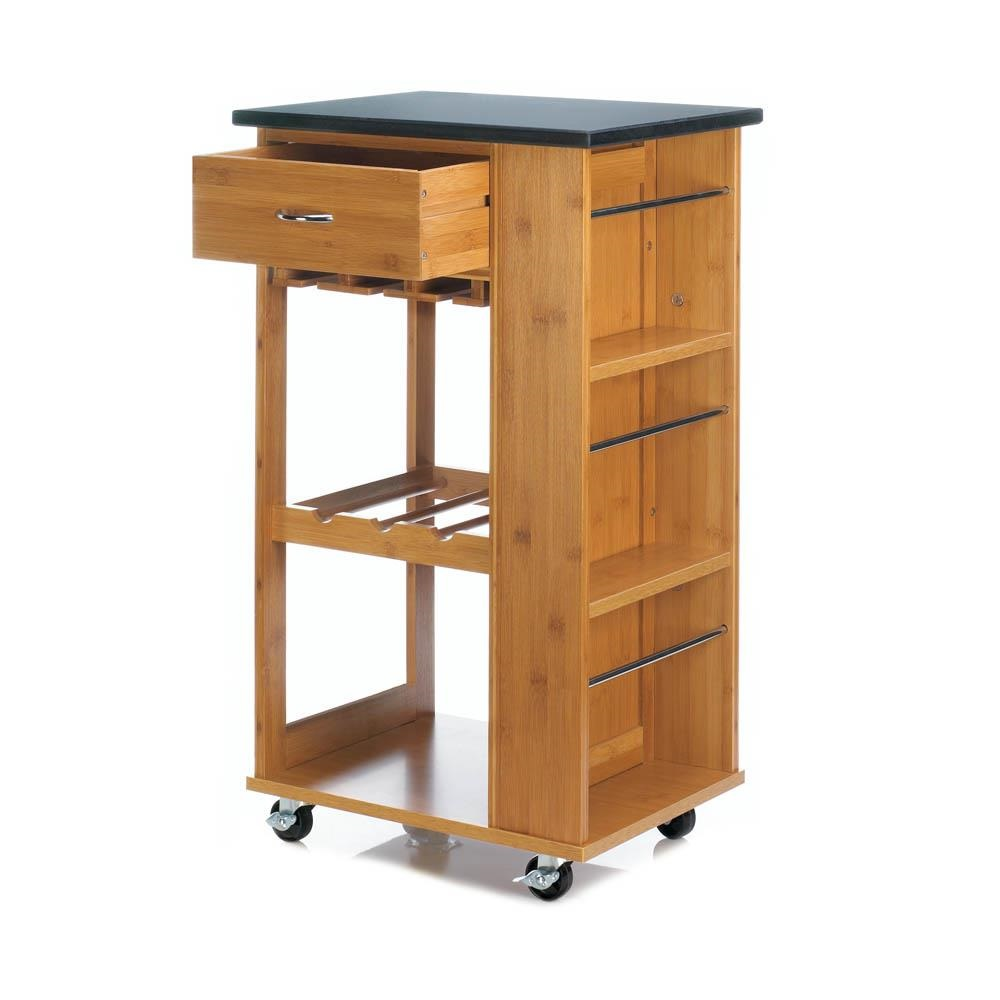 Accent plus 10018319 marble top bamboo rolling kitchen cart