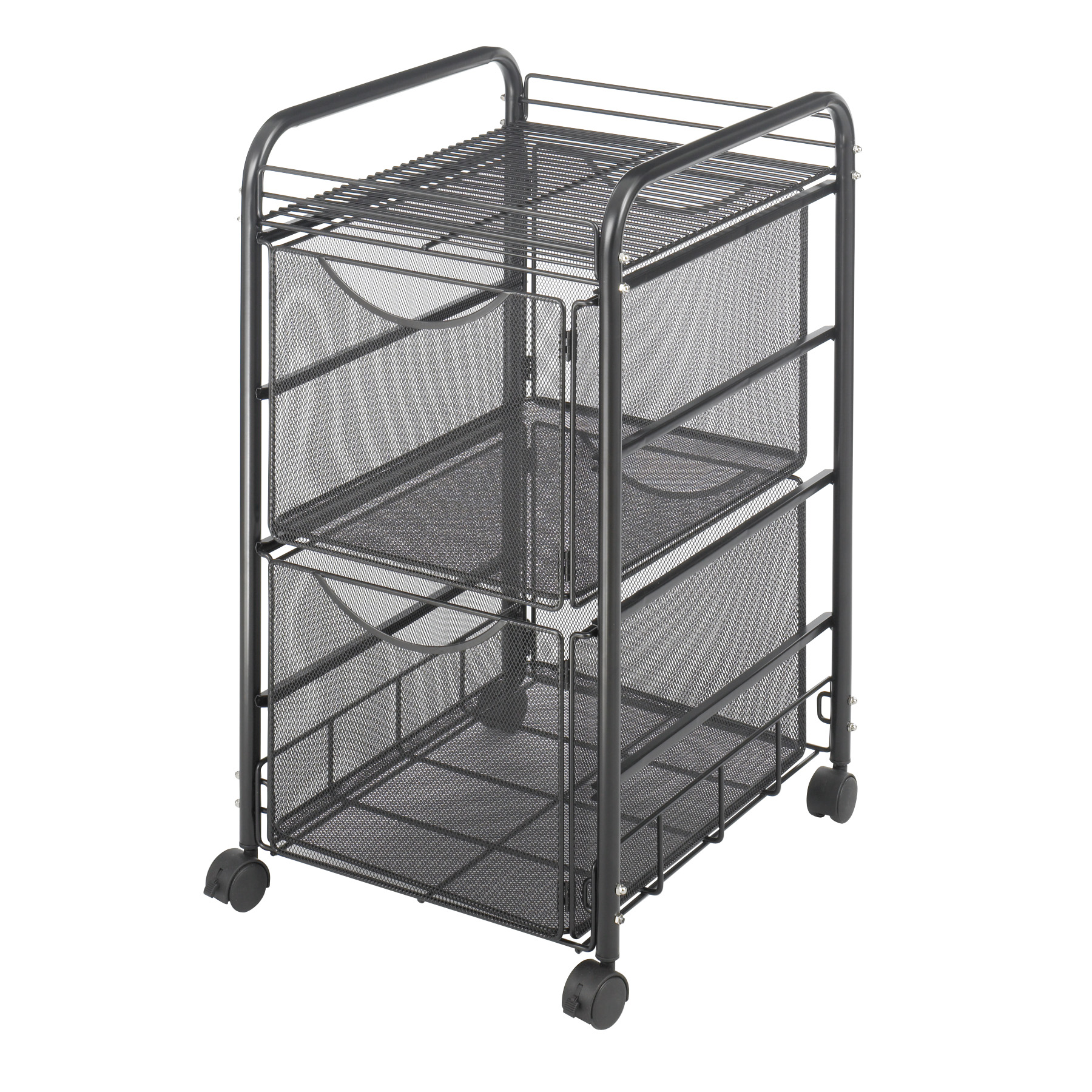 Onyx™ Mesh File Cart with 2File Drawers, Black