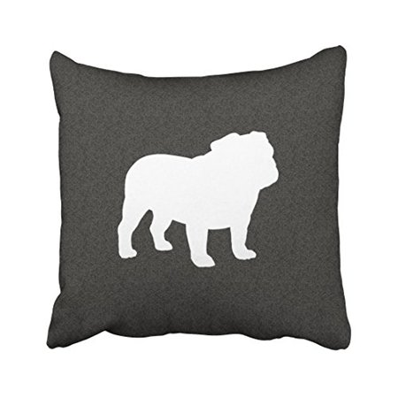WinHome Decorative English Bulldog Silhouette Throw Pillow Size 18x18 inches Two Side