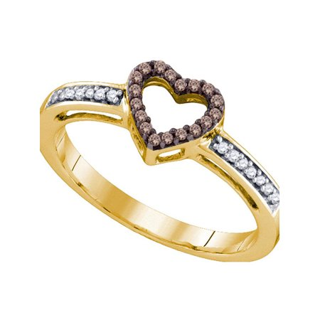 10kt Yellow Gold Womens Round Cognac-brown Color Enhanced Diamond Heart Love Ring 1/10 Cttw - image 1 of 1