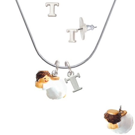 Right Angle Stud - Resin Flying Angel - T Initial Charm Necklace and Stud Earrings Jewelry Set