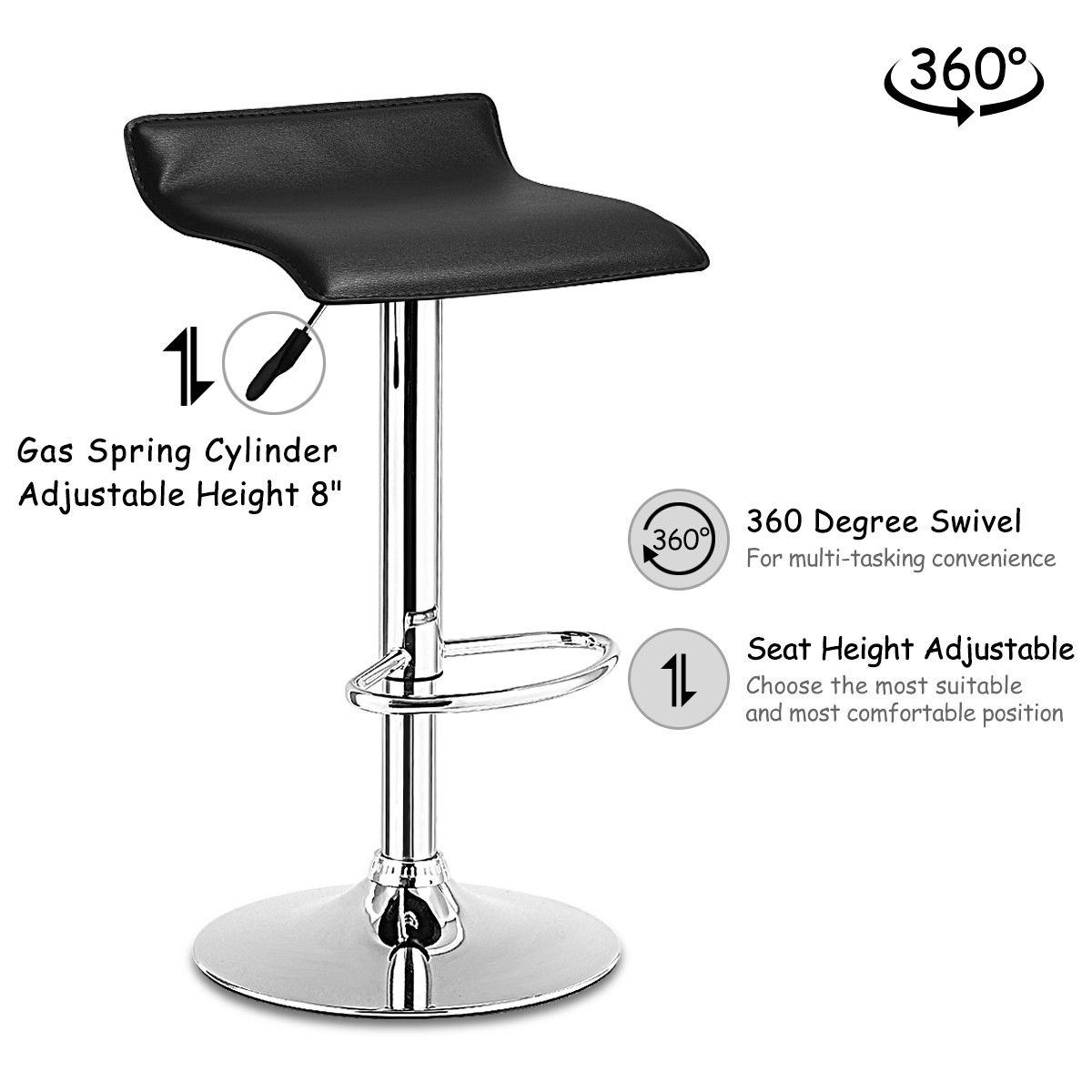 Incredible Costway Set Of 2 Swivel Bar Stools Adjustable Pu Leather Backless Dining Chair Black Pabps2019 Chair Design Images Pabps2019Com