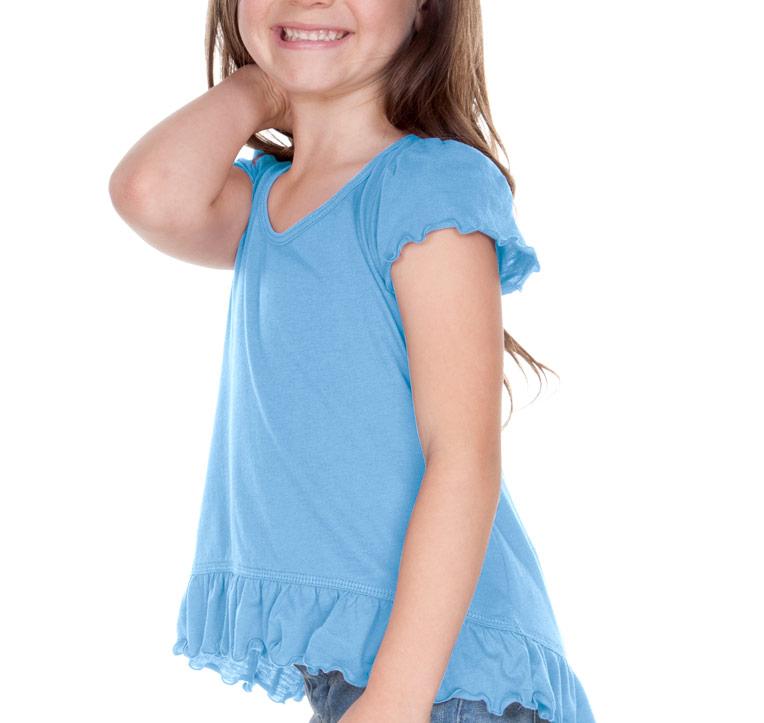 Kavio Girls 3-6X Sheer Jersey High Low Flutter Top, Style PJP0638