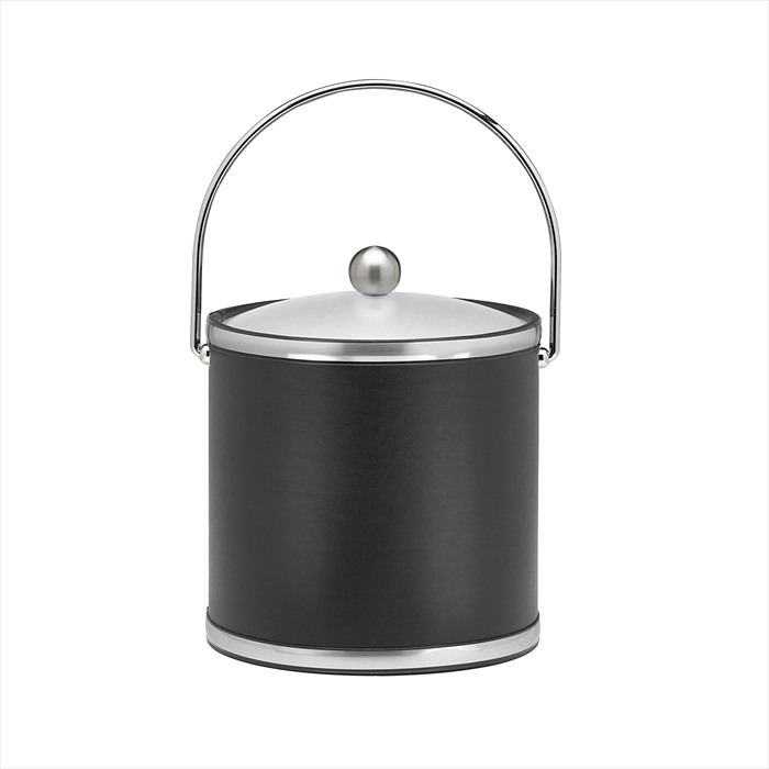 Kraftware Brushed Chrome Ice Bucket with Bale Handle and Metal Cover, Black -...