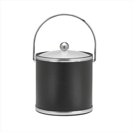 Kraftware Brushed Chrome Ice Bucket With Bale Handle And Metal Cover  Black