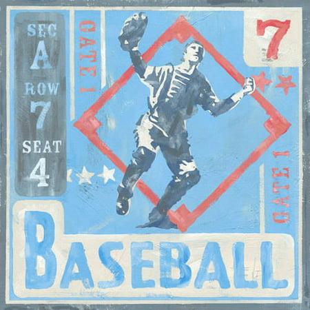 Oopsy Daisy - Game Ticket - Baseball Canvas Wall Art 14x14, Roger Groth