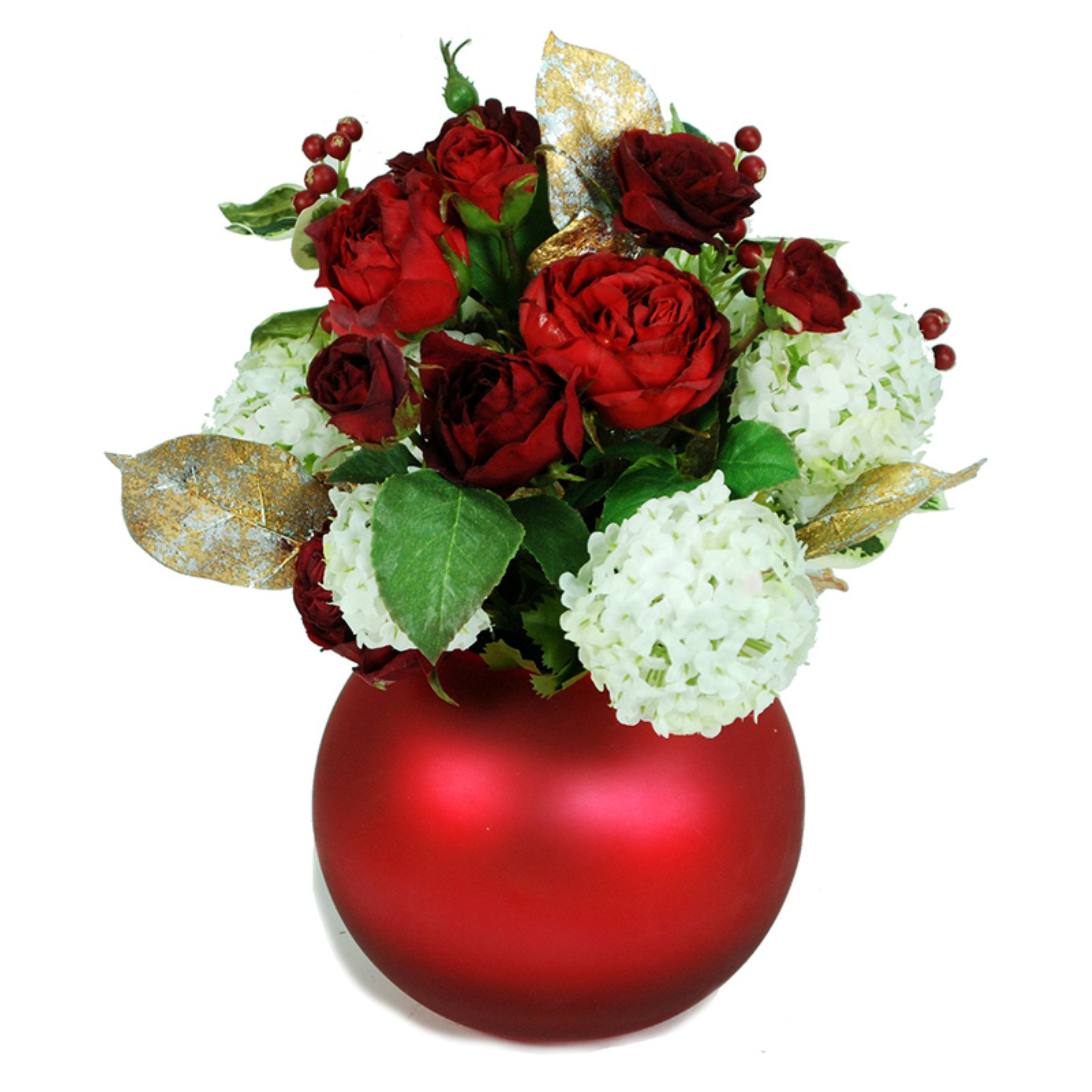 Jane Seymour Botanicals 11 in. Mixed Rose and Snowball Centerpiece with Ball Vase Silk Flower Arrangement