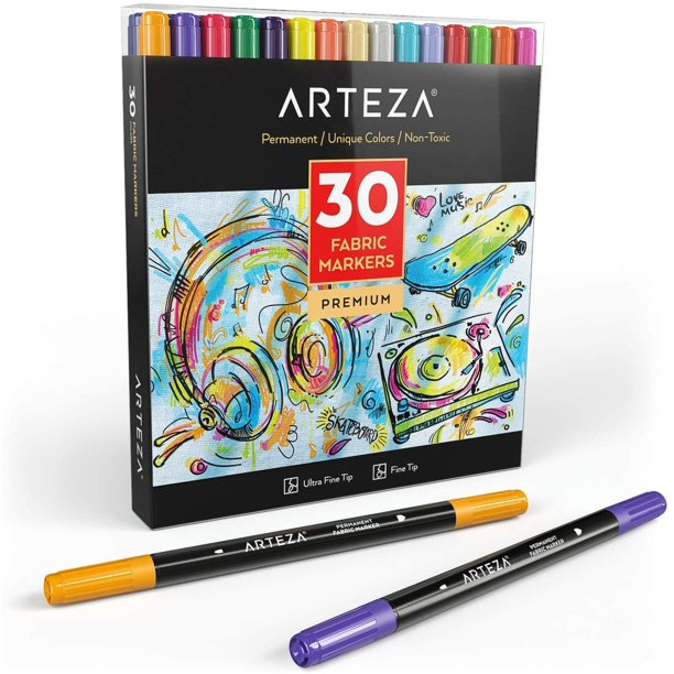 ARTEZA Fabric Markers, Colors, Set of 30