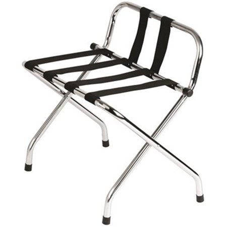 HOSPITALITY 1 SOURCE STANDARD LUGGAGE RACK WITH BACKREST, BLACK STRAPS, (Straps Luggage Rack)