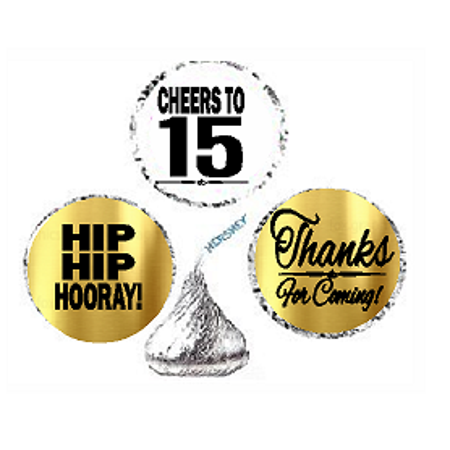15th Birthday / Anniversary Cheers Hooray Thanks For Coming 324pk Stickers / Labels for Chocolate Drop Hersheys Kisses, Party Favors Decorations - 15th Birthday Party Ideas