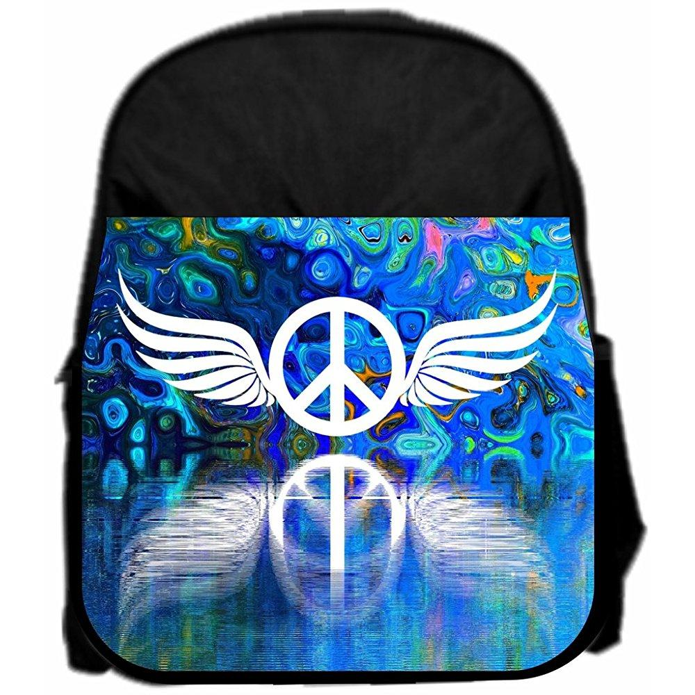 lea elliot pre-school backpack, peace symbol reflection, small, black