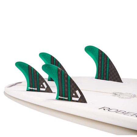 Dorsal Carbon Hexcore Quad Surfboard Fins (4) Honeycomb FUT Base Green ()