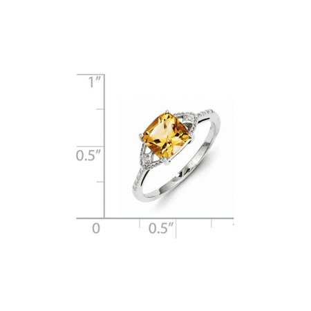 Sterling Silver Rhodium Plated 1.10 Carat (ctw) Citrine Ring - image 1 of 2