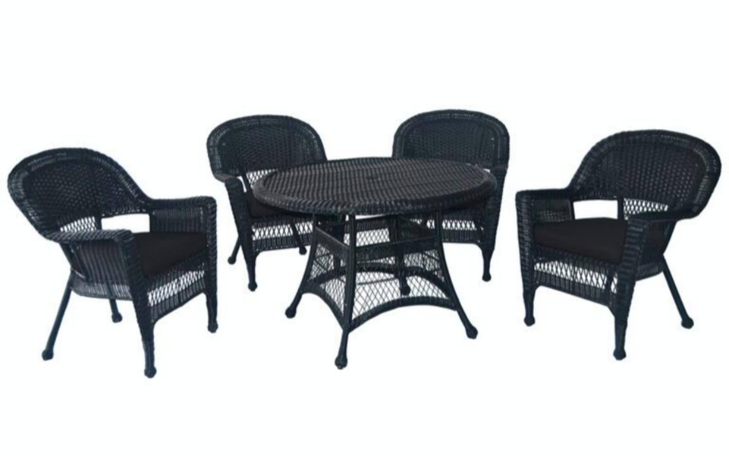 5-Piece Black Resin Wicker Chair & Table Patio Dining Furniture Set Black Cushions by CC Outdoor Living