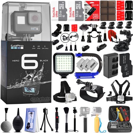 GoPro Hero 6 Black 4K 1080P Digital Camera w/ 64GB - 42PC Sport Action Bundle / Window Mount - Helmet Mount - Chest Mount - Handlebar Mount -  360 Degree Mount - X-GRIP - LED Video Light & MUCH MORE