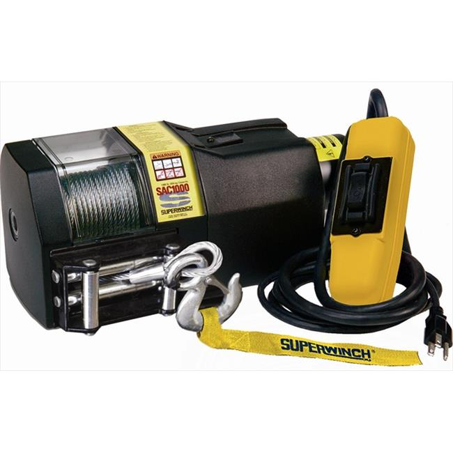 Superwinch 01001 SAC1000 120VAC winch, rated line pull 1,000 lb-454 kg, with Free spool & Roller Fairlead