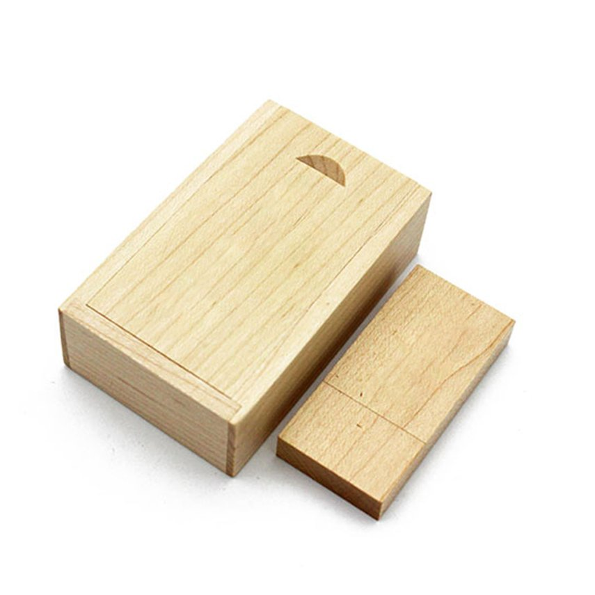 USB Flash Drive Maple Wood Photo Album Box Storage Device For Laptops Notebook