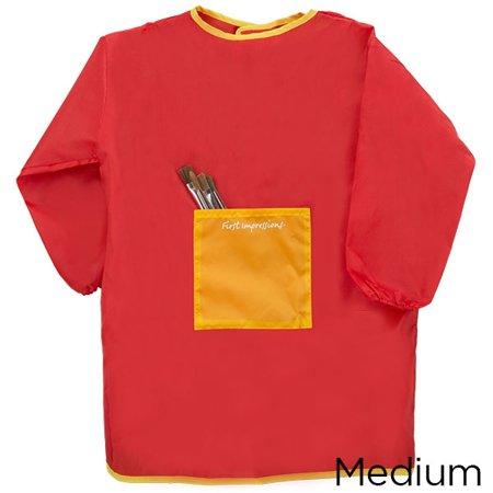 1st Impressions Childrens Art Smock, Artist Painting Craft Smock for Kids (Red) - Variant
