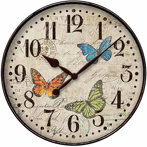 "12"" Round Buttefly Dial Wall Clock"