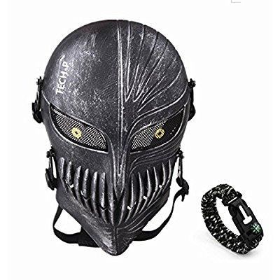 tech-p death skull face mask - protective mask gear for use as tactical mask & airsoft and outdoor cs war game mask - scary ghost mask for halloween - silver and black cosplay mask