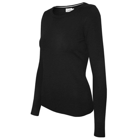 Women's Solid Basic Soft V-neck Crew Neck Stretch Pullover Knit Sweater SW630 Black Size