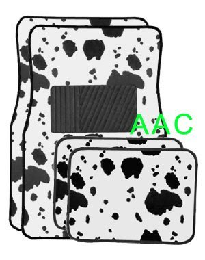 A Set of 4 Universal Fit Animal Print Carpet Floor Mats for Cars   Truck Cow by LavoHome