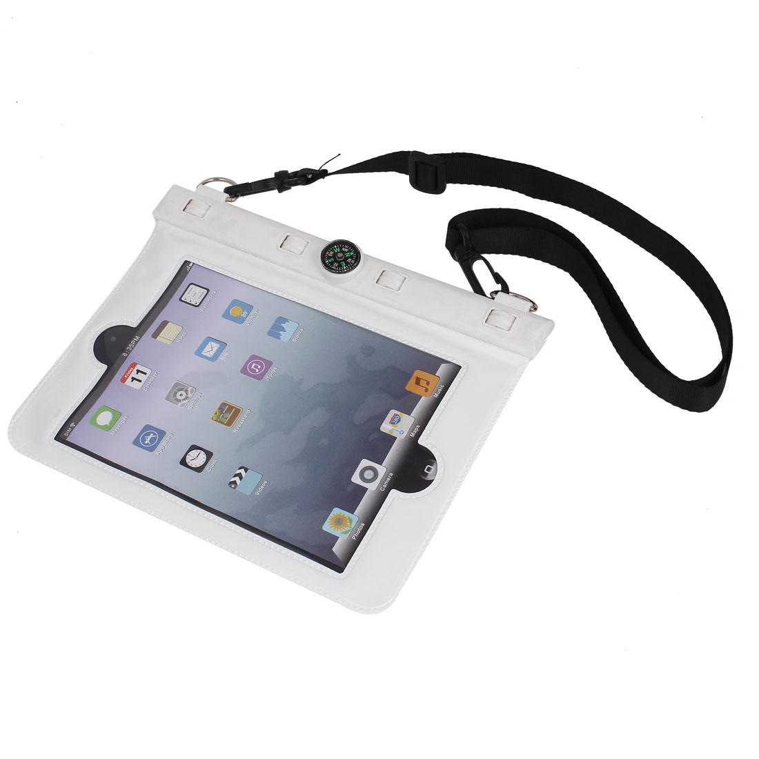 Waterproof Bag Holder Pouch White for iPad Mini w Hook Strap Compass