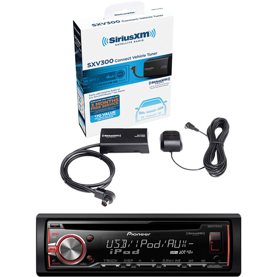 Pioneer DEH-X3800S Single-DIN In-dash CD Receiver and Sirius-XM SXV300V1 SiriusConnect Vehicle Tuner