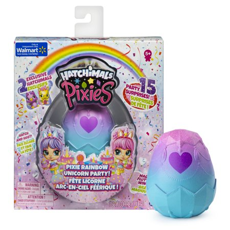 Hatchimals Pixies, Rainbow Unicorn Party with 2.5-Inch Collectible Doll and 2 CollEGGtibles (Styles May Vary)