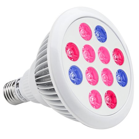 Lighting EVER 12W PAR38 LED Grow Lights, Regular E26 Sized Socket, Red + Blue for Hydroponic Plants, Greenhouse