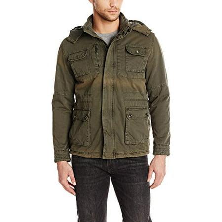 Garter Stitch Jacket - American Stitch Mens Cotton Military Jacket, Dark Grey, Large