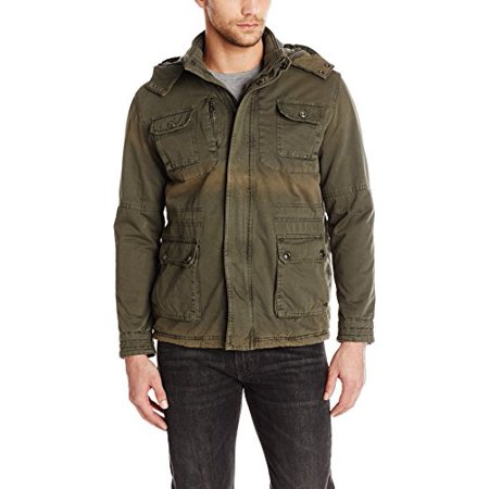American Stitch Mens Cotton Military Jacket, Dark Grey, (Stitch Detail Jacket)