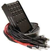 Seismic Audio 12 Channel 50 Foot XLR Low Profile Snake Cable with 4 TRS Returns PA/DJ Stage - SAJLP-12x4x50