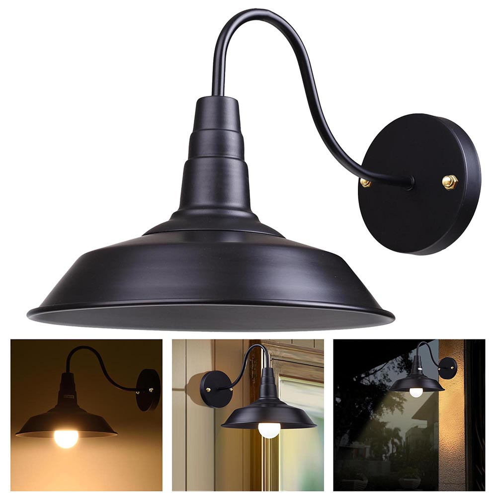 Yescom Retro Vintage Industrial Barn Style Light Wall Sconce Wall-mounted Metal Lampshade Gooseneck