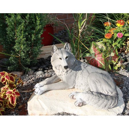 Resting Gray Lone Wolf Large Decorative Indoor & Outdoor Figurine, This statue is approximately 9