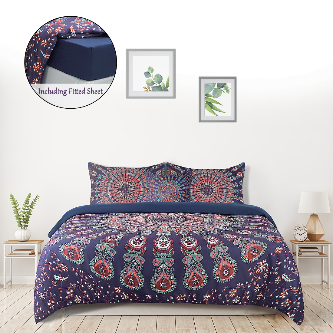 5pcs Duvet Cover Set Bohemian Bedding Including Comfort Cover Fitted Sheet And Pillowcase Red Queen Walmart Canada
