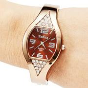 Women Girl Fashion Rose Golden Bracelet Wrist Watches Bangle Dial Quartz Analog (Bronze)