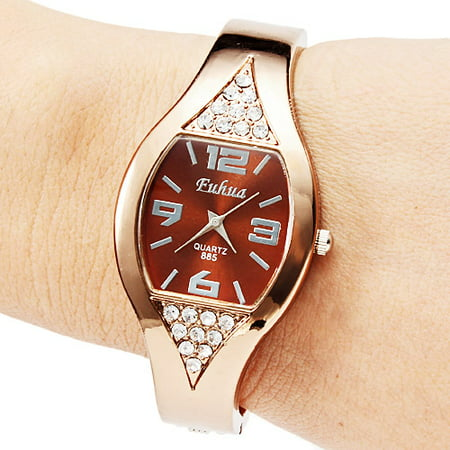 Women Girl Fashion Rose Golden Bracelet Wrist Watches Bangle Dial Quartz Analog (Bronze)