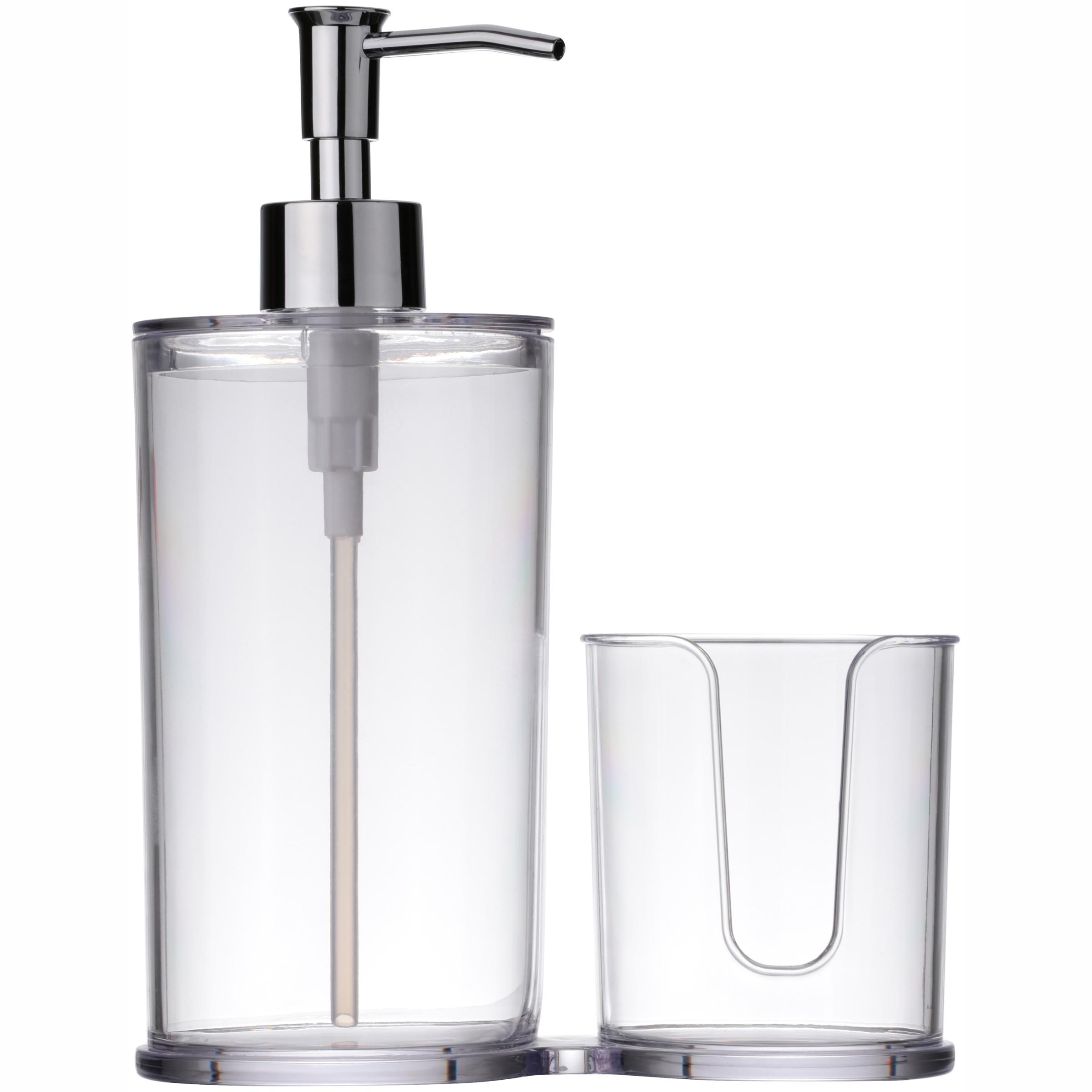 Mainstays True Color Clear Mouthwash Dispenser & Cup Holder, 2 Piece