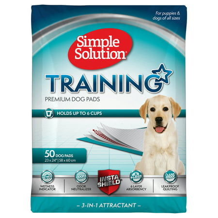Simple Solution Training Puppy Pads | 6 Layer Dog Pee Pads, Absorbs Up to 6 Cups of Liquid | 23x24 Inches, 50 (Bullseye Pee Pads For Dogs In Stores)