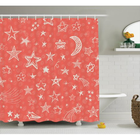 House Decor Shower Curtain Moon And Stars Theme Starry Night Shooting Star Space Galaxy Kids Doodle