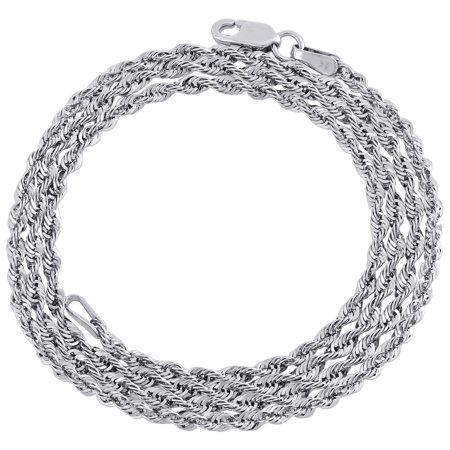 10K White Gold Diamond Cut Hollow Rope Chain 2mm Wide Necklace 18 Inches